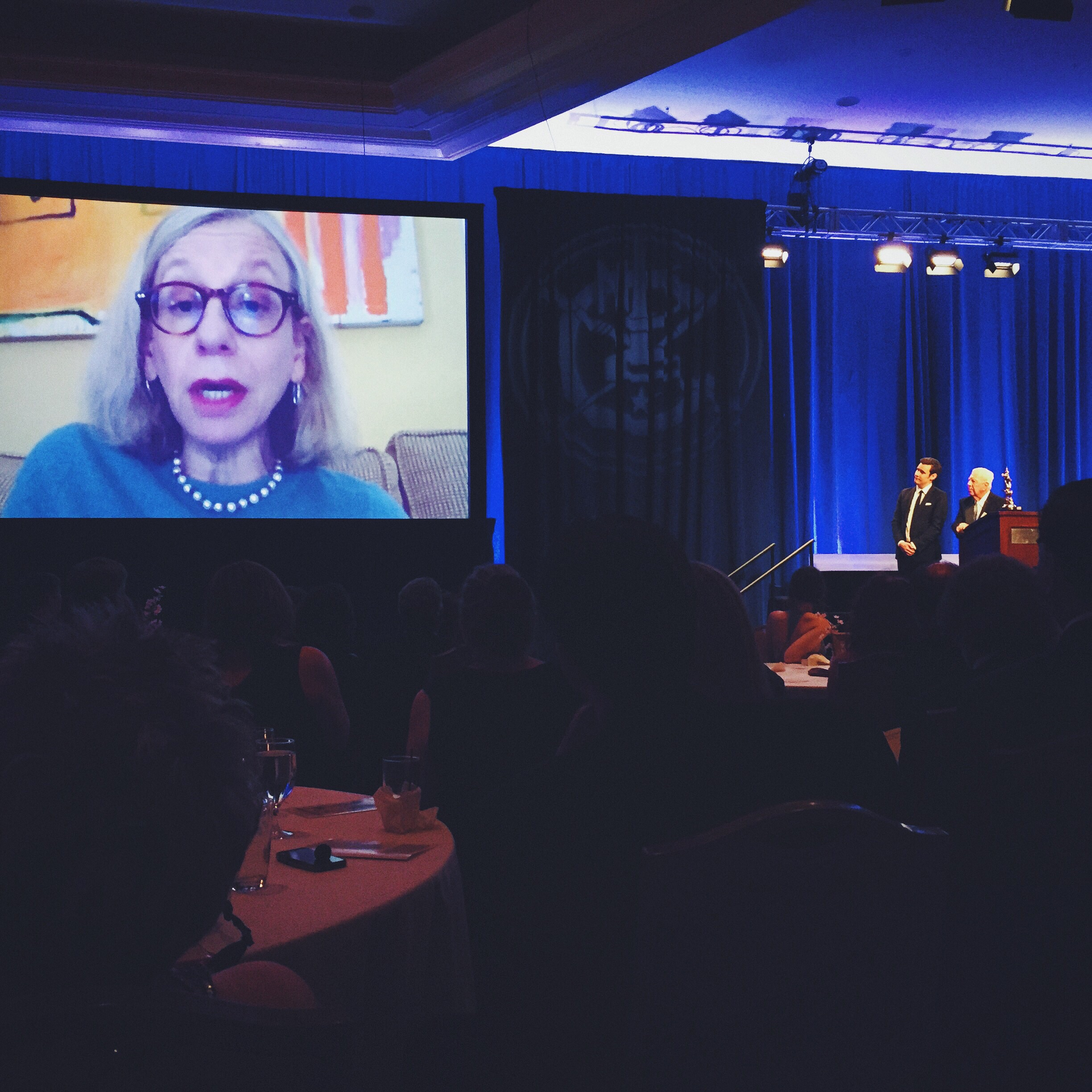 Roz Chast accepts her Reuben Award via satellite